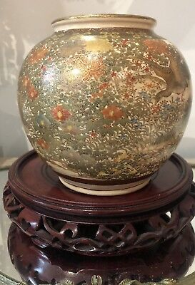 Antique Japanese Satsuma SIGNED Vase Landscape Birds Mandarin Duck INTRICATE