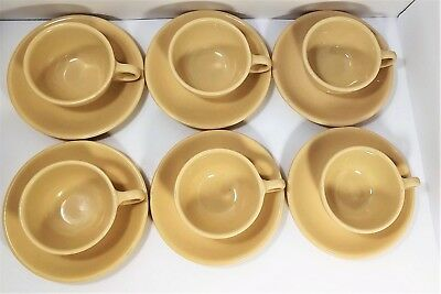 Set Of (6) Homer Laughlin Saucers  w/ Buffalo China Coffee Cups Restaurant ware