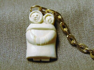 Vtg. Native ALASKA ESKIMO King Island ASEULUK~INUIT Carved BILLIKEN Keychain #2