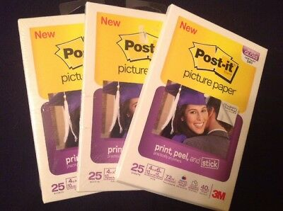 3 Packs of Post-it 3M Picture Paper Super Sticky Glossy 4x6
