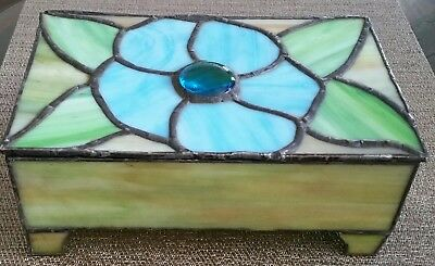 Antique Hand Made Art Nouveau Slag Glass Large Hinged Box In Beautiful Colors