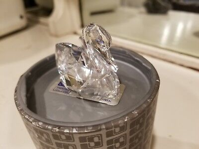 Swarovski Clear Crystal Figurine Soulmates Swan Lg #1075309 and Mini ~ 2 total