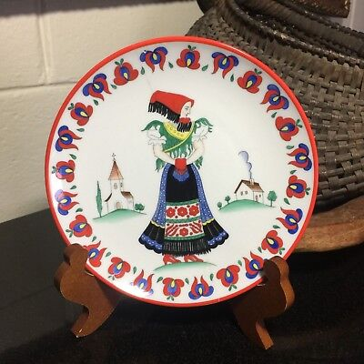 "Herend c.1932 Matyo Woman 7 5/8"" Wall Plate Made in Hungary Staple Repair"