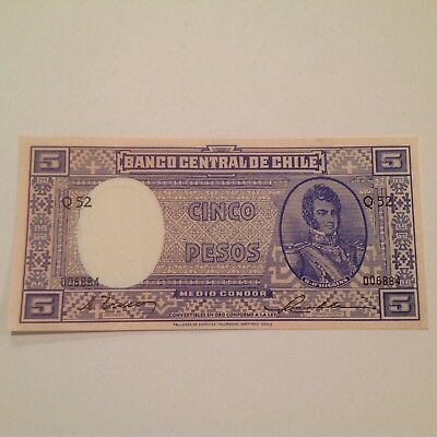 CHILE 5 Pesos Banknote World Paper Money UNC Currency Pick p119 B.O'Higgins 1958