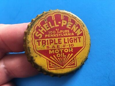 Antique Shell Penn Motor Oil Bottle Cap Triple Light  SAE 10