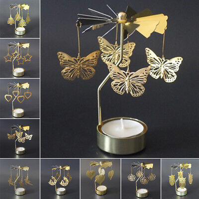 Rotary Spinning Tealight Candle Metal Tea Light Holder Carousel Home Decor Gifts
