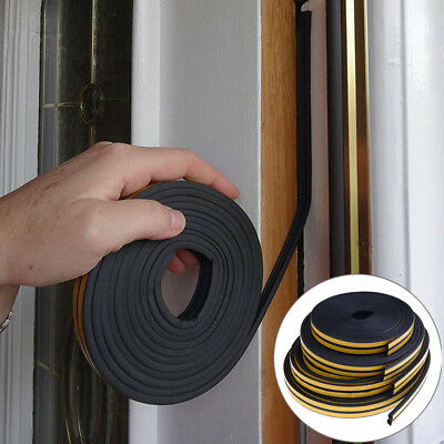 10M Draught Excluder Self Adhesive Rubber Door Window Seal Strip Roll Foam Pip