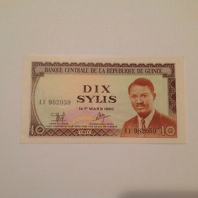 GUINEA 10 Sylis Banknote World UNC Currency Money BILL P-16 Note Africa 1971