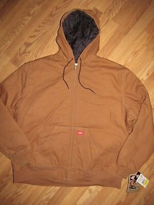 DICKIES mens 2XL XXL QUILTED/ LINED SANDSTONE CANVAS HOODED JACKET COAT