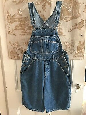 Vintage Guess Womens Short Denim Bib Overalls Shortalls Size 2 Oversized