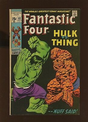 Fantastic Four 112 FN/VF 7.0 *1 Book* 1971 Marvel! Thing v. Hulk! Stan Lee!