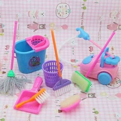 9Pcs Cute Funny Mini House Cleaning Mop Broom Pretend Play Kids Kitchen Toys Set
