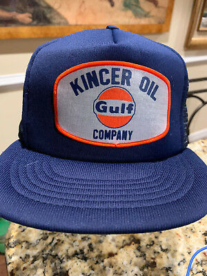 86cbb5b81fa Vintage GULF Oil Company Gas Blue Trucker HAT KINCER OIL STATION
