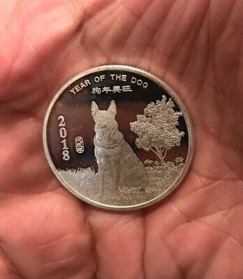 Year of the Dog Chinese Zodiac 1 oz .999 Pure Solid Silver Art Round Coin New