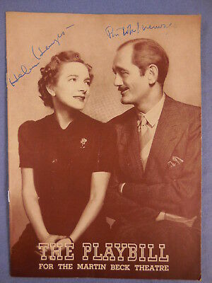 Helen Hayes, Philip Merivale. Both signed on Ladies And Gentlemen 1939 Playbill+