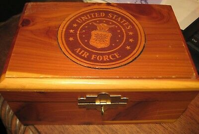 VINTAGE Official U.S. Military Air Force USAF Logo Wooden Cedar Box Souvenir