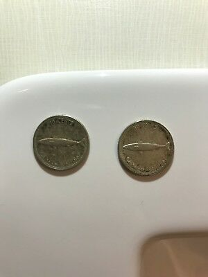 TWO 1967 Canada silver 10 cent coins - Silver fish dime coin lot