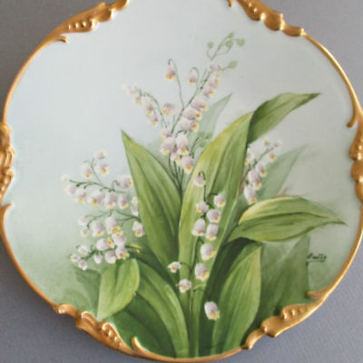 """Antique LIMOGES Porcelain HP 9"""" Cabinet Plate LILIES of the VALLEY w GILT Trim"""