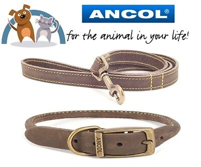 Ancol Timberwolf Real Leather Round Dog Collar & Lead Set Size 28-36cm Brown