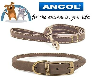 Ancol Timberwolf Real Leather Round Dog Collar & Lead Set Size 45-54cm Brown