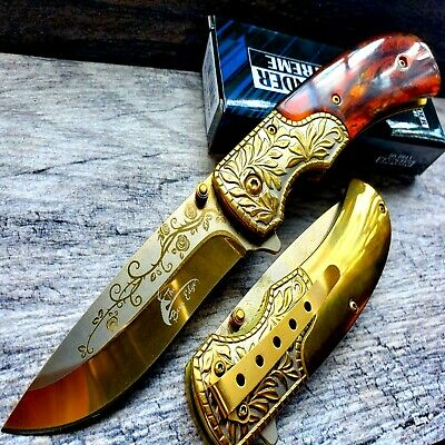 "9"" Ballistic Gold Samurai Spring Assisted Open Folding Pocket Knife Sculpted Art"