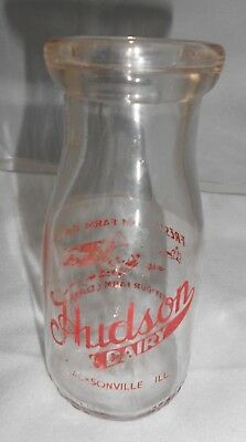Vtg Hudson Dairy Jacksonville ILL IL Milk Bottle Pyro Half Pint ACL Red Farm Cow