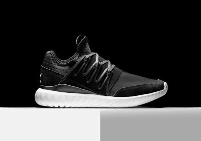 New Mens Adidas Tubular Radial Core Black Vintage White Athletic Shoes S80114