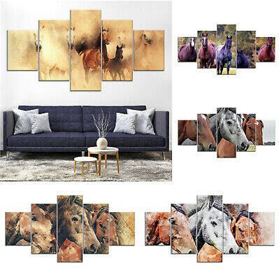 Horse Animal Draw Canvas Print Painting Framed Home Decor Wall Art Poster 5Pcs