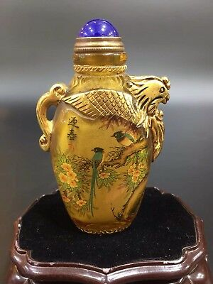 Chinese Antique coloured glaze Hand-carved gold-plated bird snuff bottle