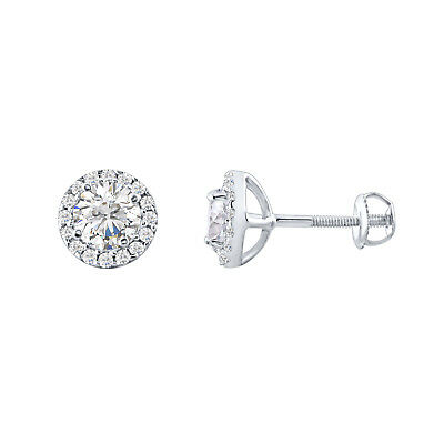 1.70 Ct Round Diamond Halo Stud Earring 14K White Gold 925 Sterling Silver