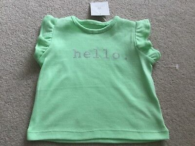 Baby girls Next green pretty 'Hello' tshirt top BNWT size up to 1 month