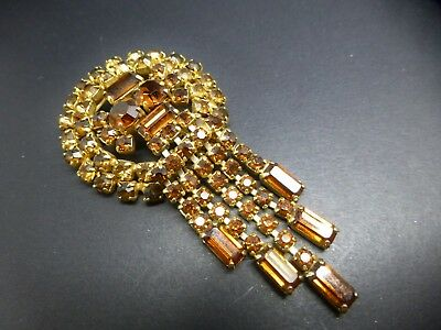 Vintage gold plate amber glass articulated waterfall brooch pin Art Deco style