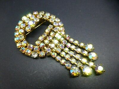 Vintage aurora borealis rhinestone articulated waterfall brooch Art Deco style