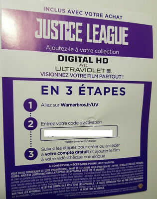 Code digital UV (Ultra Violet) - Blu Ray - Justice League - Neuf