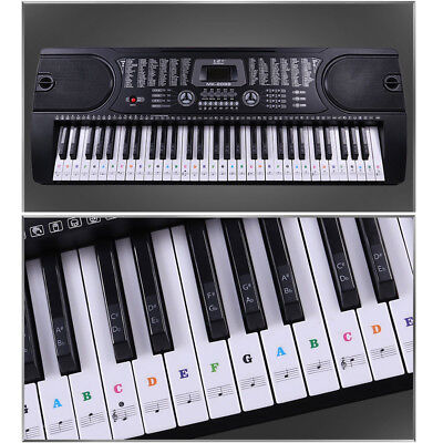 Music Keyboard or Piano Stickers 61 KEY SET removable white LAMINATED stickers U