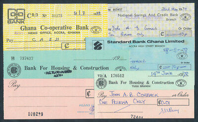 """Ghana: 1978-79 """"COLLECTION OF 5 DIFFERENT CHEQUES"""" with Printed Duty Stamps"""