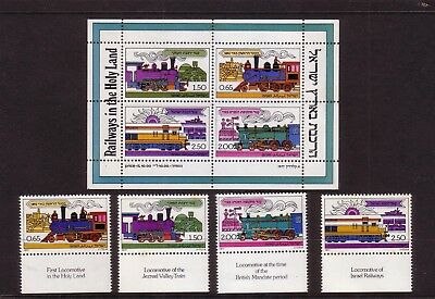 Rail/Trains thematic stamps - Israel MUH 0.65 - 2.50 (MS + 4) Railways Holy Land