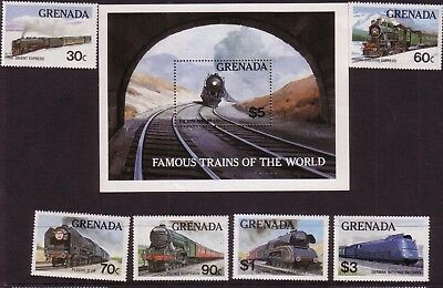 Rail/Trains thematic stamps - Grenada MUH 30c-$3 (MS + 6) - Famous Trains World