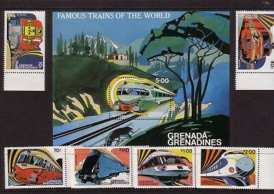 Rail/Trains thematic stamps - Grenada MUH 10c-$2 (MS + 6) - Famous Trains World