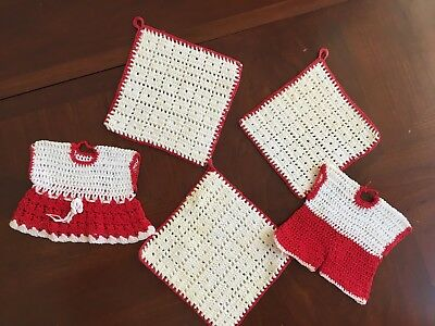 5 VINTAGE HAND CROCHETED Red & White (Cream) POTHOLDERS Dress and Pants