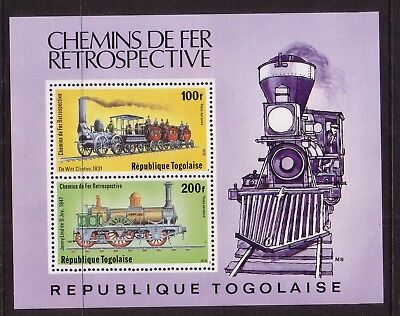 Rail/Trains thematic stamps - Togolaise MUH 100f & 200f (MS) - Locomotives