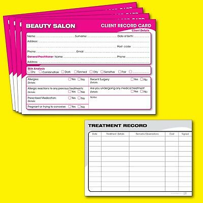 Beauty Client Record Card Salon Treatment Consultation Cards A6 - 50 Pack