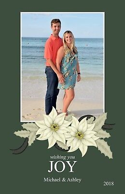Holiday Christmas Personalized Photo Card Poinsettia