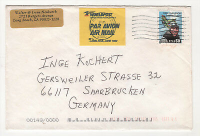 "USA 2000 / Luftpost-Brief mit ""Worldpost""-Label 19-B"