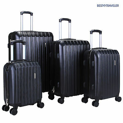 4Pcs Black Luggage Travel Set Bag ABS Trolley Spinner Carry On Suitcase TSA Lock