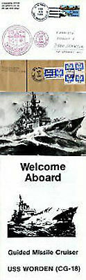 Uss Warden Cruiser Cg 18 Naval Cached Cover A Piece A Mag Picture & Leaflet