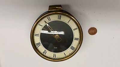 Vintage Brass & Leather Glen Clock by LSM, Made In Scotland