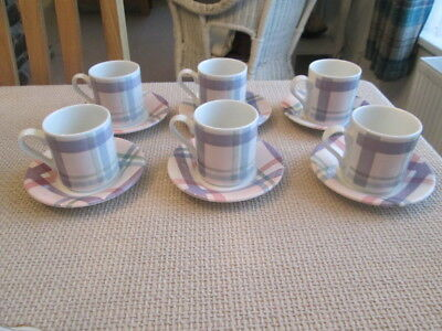 Set Of 6 Portmeirion Amabel Coffee Cups And Saucers