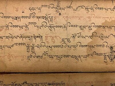 Antique Tibet-Mongolian Buddhist Handwritten Music  Manuscript Leaves.