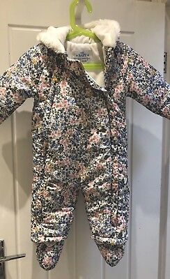 M&S GIRLS SNOWSUIT (AGE 9-12 MONTHS) With Detachable Booties